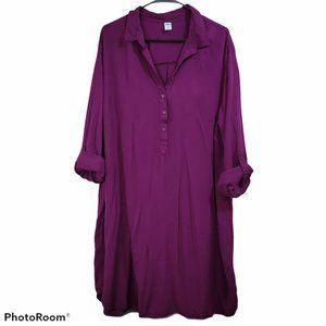 Old Navy Long Sleeve Button Front Shirt Dress XXL